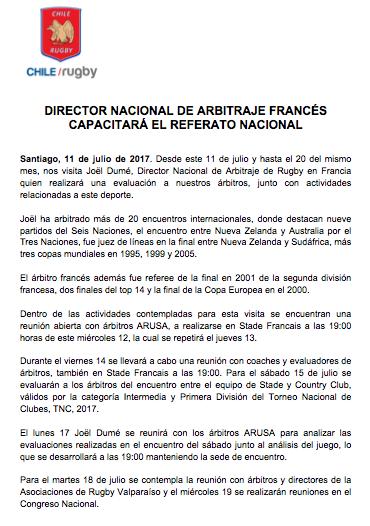 Comunicado Prensa Chile Rugby visita de Joël Dumé